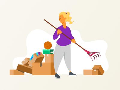 Decluttering pile boxes junk stuff clean clutter illustration