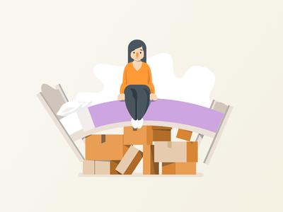 Hiding under the bed bed storage moving boxes clutter affinity designer illustration stuff junk