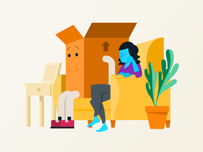 Living with Your Stuff clutter boxes storage minimalism junk stuff illustration