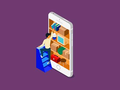 Smartphone storage organize shelf bookshelf bookcase catalog stuff delivery pickup concierge storage minimalism junk clutter ios smartphone storage