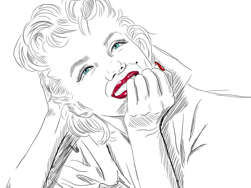Marilyn Relaxed beautiful women famous people line illustrations illustrations marilyn monroe