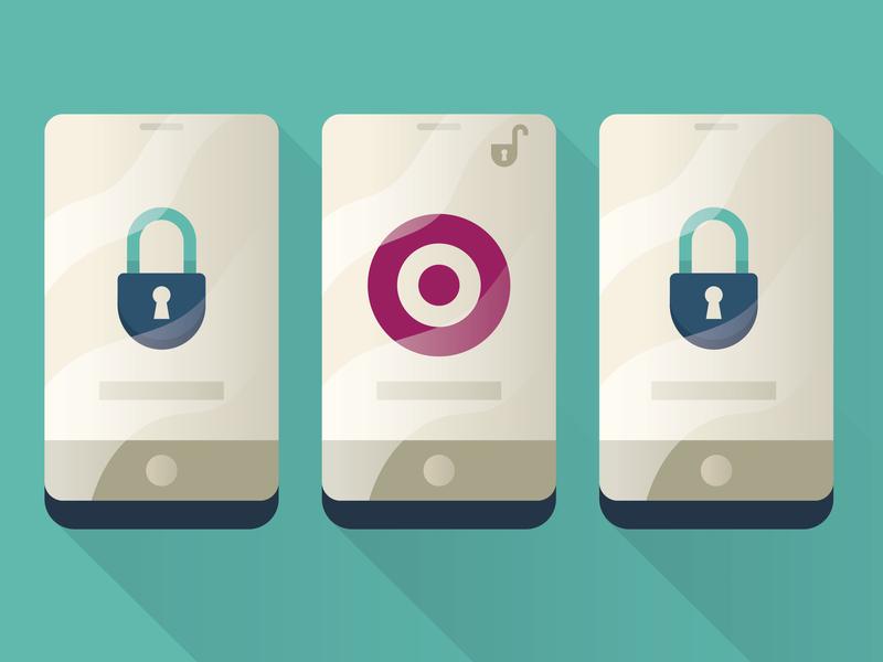 Mobile Security target lock mockup phone illo editorial illustrator illustration