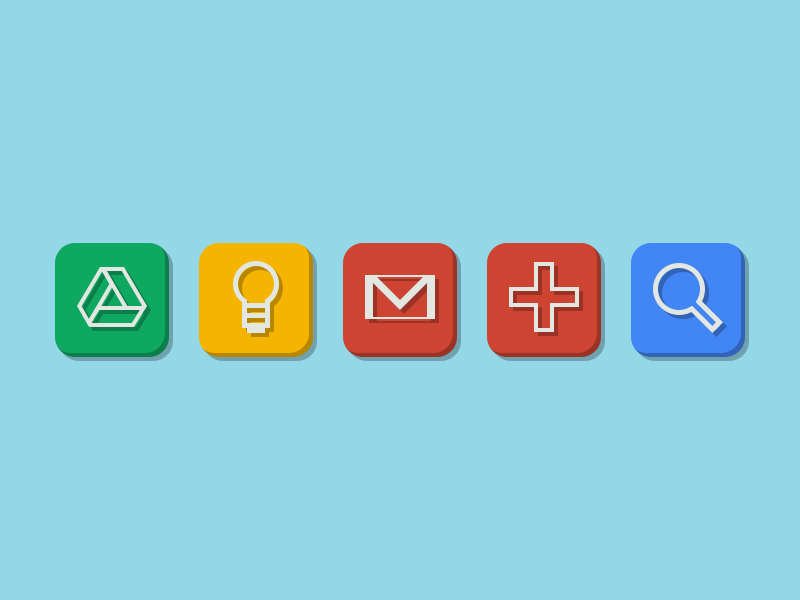 Google Products google products drive keep mail plus search social network flat icons green yellow red blue glyphs symbols rebound psd
