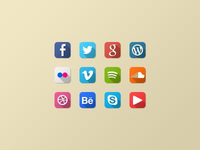 set´ flat social media icons psd