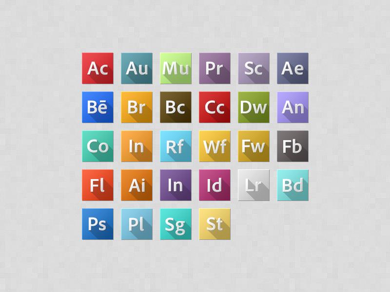 Adobe CC adobe creative cloud icons long shadow psd rebound