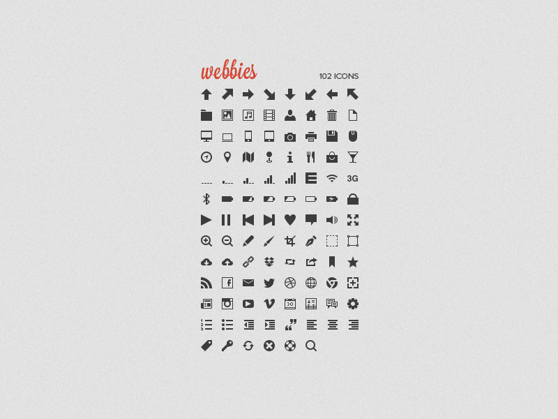 Webbies icons 16px psd csh png grey red glyphs