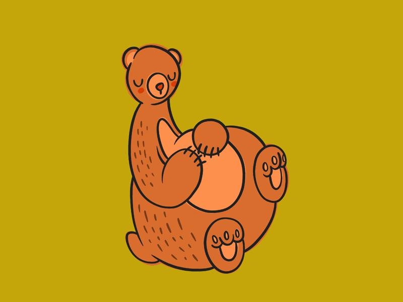 Beary Sleepy green procreate digital illustration sleep bear