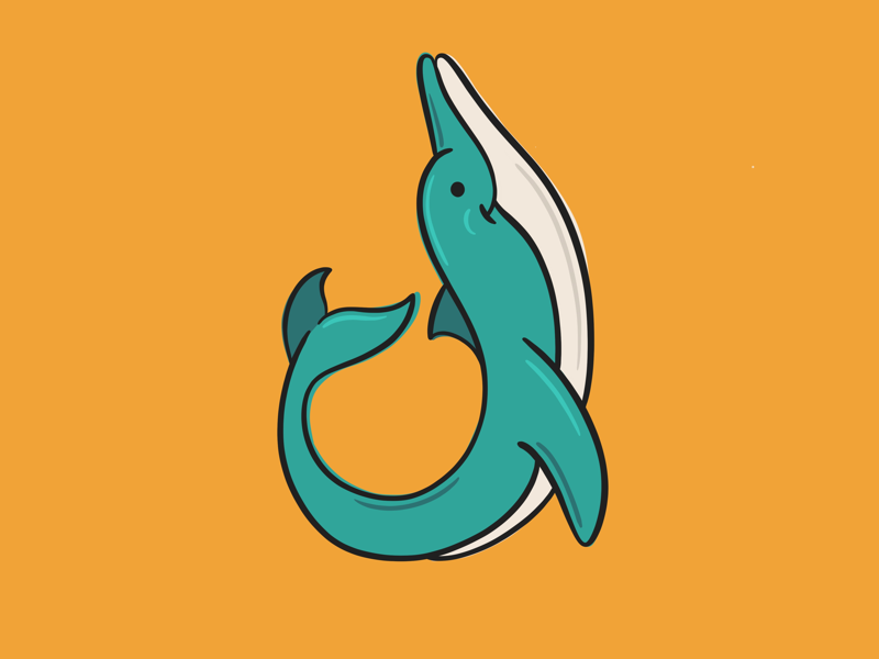 D is for Dolphin digital procreate illustration sea blue orange cute dolphin