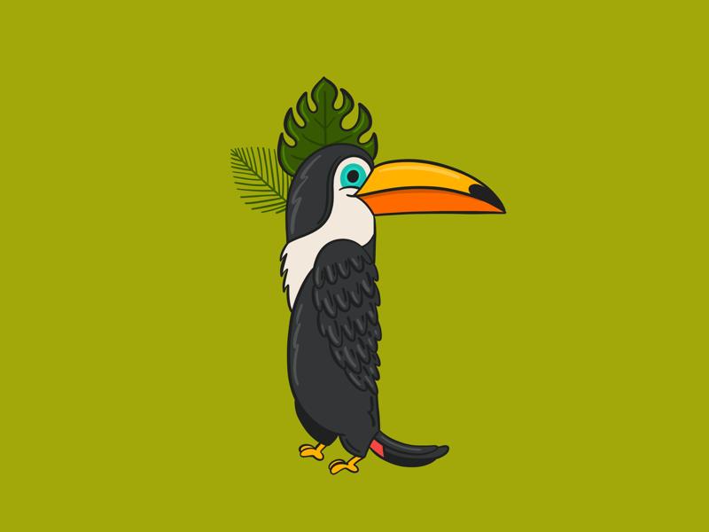 Toucan cute kids procreate digital illustration t typography lettering alphabet tropical bird toucan