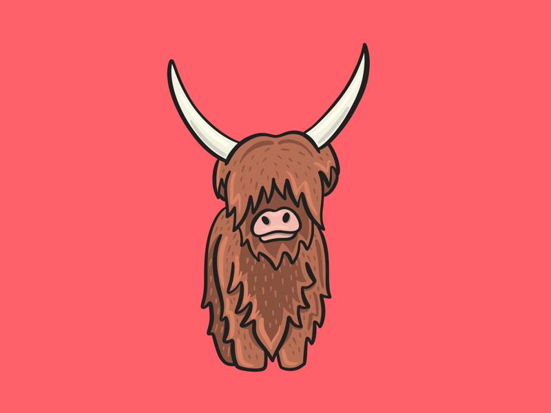 Yak kids cute y pink procreate digital illustration alphabet animal horns yak