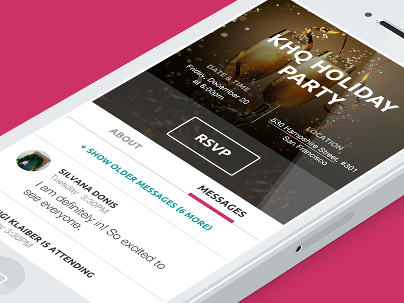 Event RSVP ui iphone interface ios mobile web mobile events simple clean rsvp