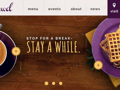 Coffee Lounge Website coffee food waffles web ui layout navigation header banner wood cafe coffee shop