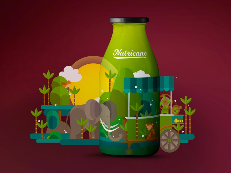Nutricane - Sugarcane Juice Packaging nutricane illustration juices indian vector art sugarcane packagingdesign