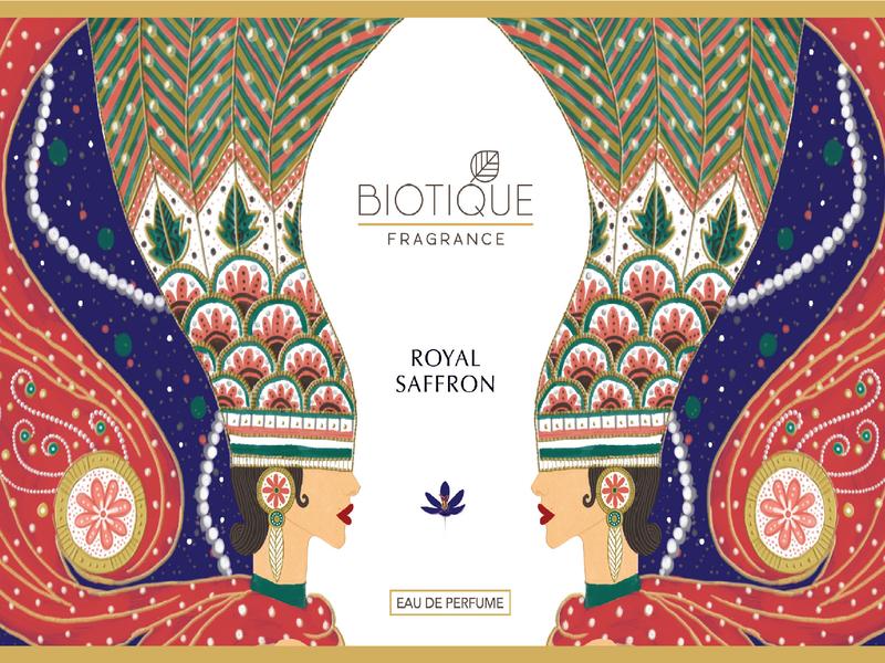 BIOTIQUE - Perfume Packaging Design packaging design photoshop illustration erte saffron natural indian packagingdesign perfume biotique