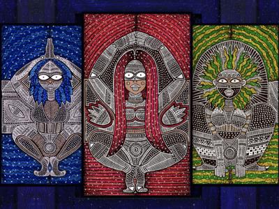 The Tantalizing Trance pen and ink illustration indian african artist artoftheday design illustration art tribal