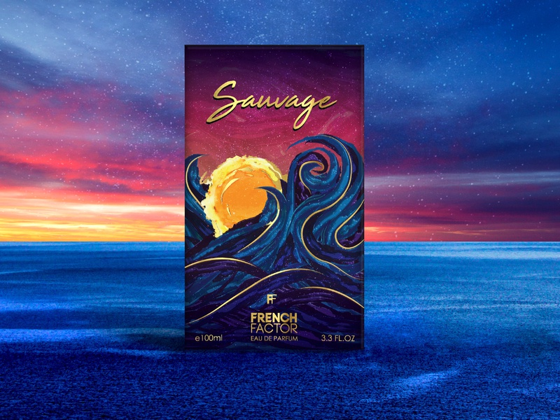 Sauvage - Perfume Packaging Design design packagingdesign artist cosmic sauvage wild sunset waves illustration graphicdesign perfume