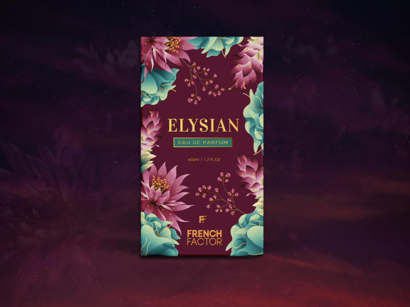 Elysian - Perfume Packaging Design elysian graphicdesign serene floral frenchfactor perfume packagingdesign artoftheday illustration design