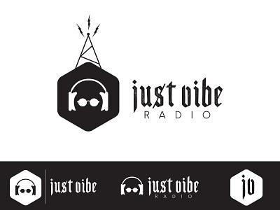 Just Vibe Logo radio tower headphones podcast logo podcast radio graphic design branding logo