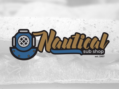 Nautical Sub Shop nautical sea deep sea deep sea diving script typography branding logo sandwiches sandwich sub