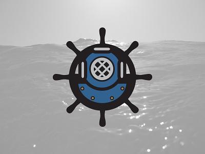 Nautical Sub Shop Secondary Logo corporate identity sailing steering wheel diving helmet illustration deep sea diving deep sea branding icon logo