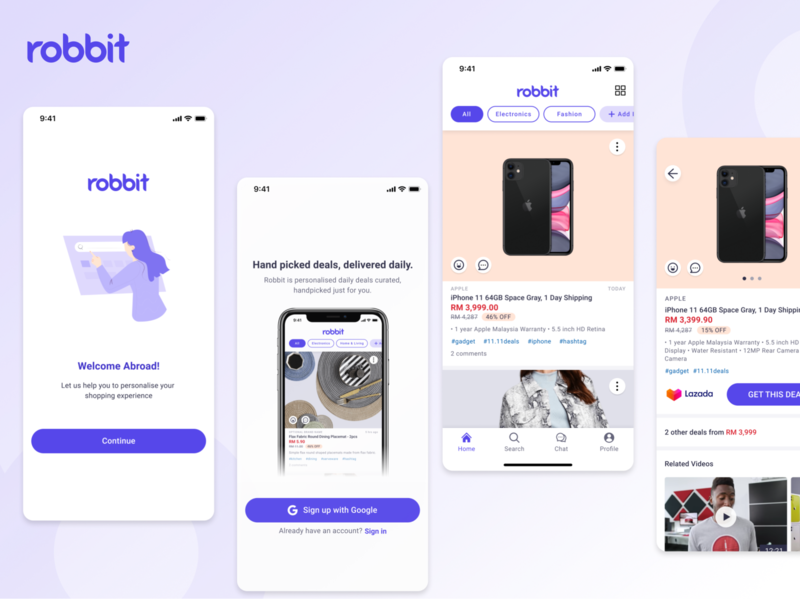 Robbit App ui product cards product page ux