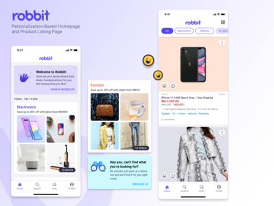 Robbit Personalization-Based Homepage and Product Listing illustration typography design ux  ui products product page personalization ux product cards ui