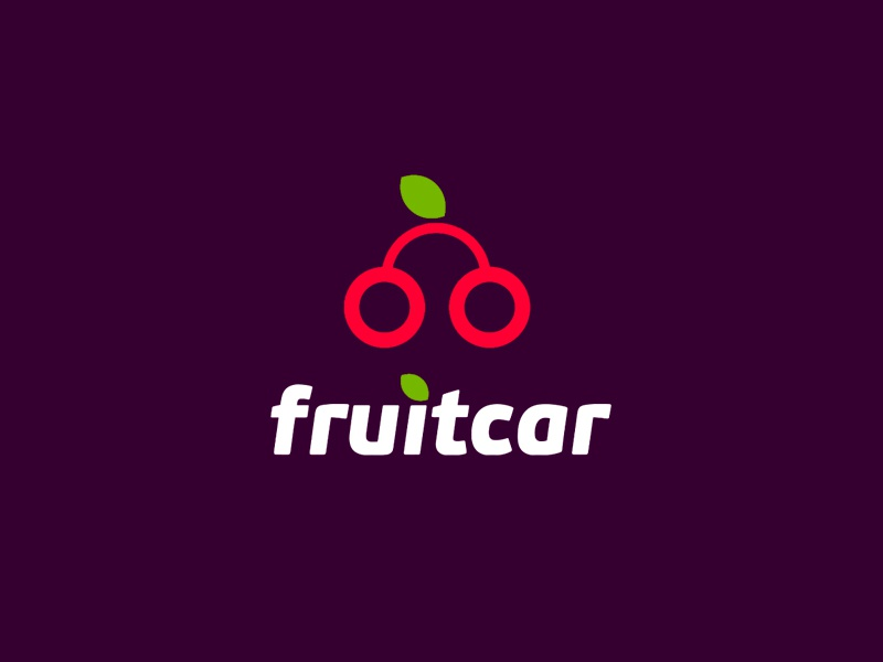 Fruitcar - car rental logo cherry fruit auto rent car