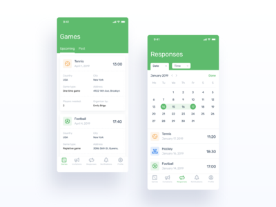 iPhone X - Manrim App UI (Games, Responses)