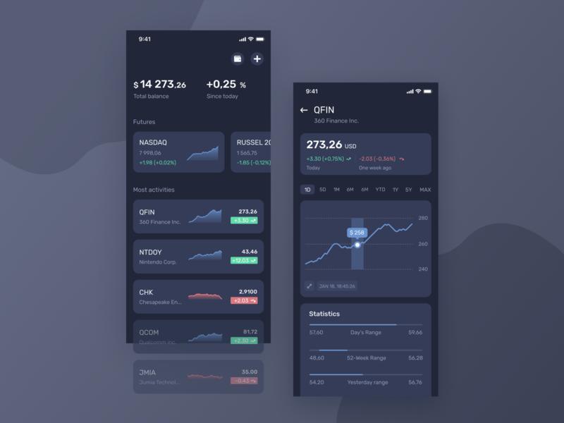 Finance Concept UI [Dark Theme] creative ios clean dollar red green blue graphic stock finance dribbble ui  ux ui concept