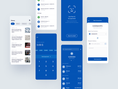 Finance UI #3 crypto wallet cryptocurrency transaction news ethereum bitcoin face id scan ux uiux ui blue finance