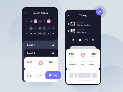 Ticket Booking concept booking ticket app mobile design ux ui