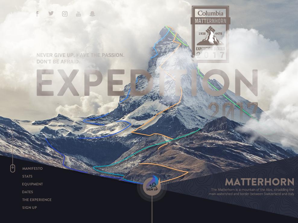 Columbia Clothing X Matterhorn - Expedition 2017 mountain alpine columbia matterhorn design expedition minimal website website design equipment fashion clothing event design wireframes ux design ui design ux ui branding concept art direction
