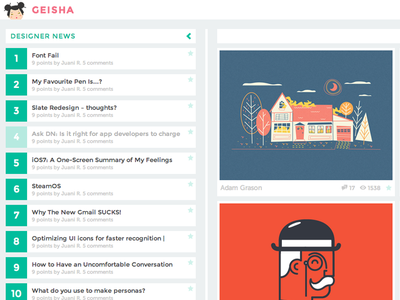 New version of geisha chrome extension dribbble layervault news geisha flat designer news