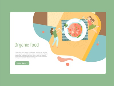 Organic healthy food landing page organic healthyfood illustrations ui vector landingpage illustration vector illustration