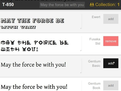 T-850 - Adobe Edge Web Fonts UI Concept