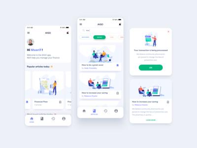 Financial reader app using makaryo illustration