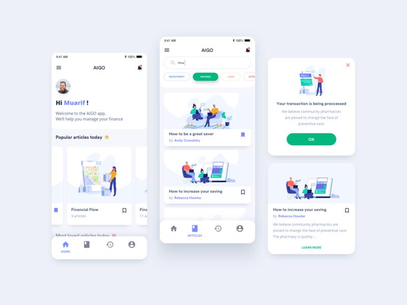 Financial reader app using makaryo illustration business flat exploration ux finance app financial vector branding app ui design illustration