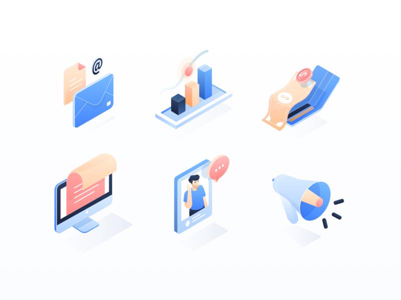 Digital Marketing Icon Isometric email megaphone graphic money monitor chat isometric icon design illustration