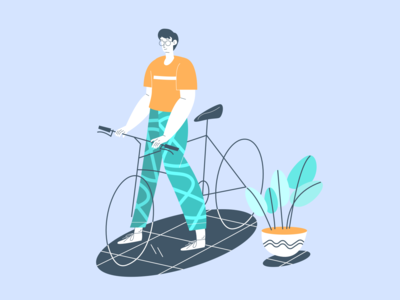 ride bicycle line art bicycle texture branding ui landingpage landing header design illustration