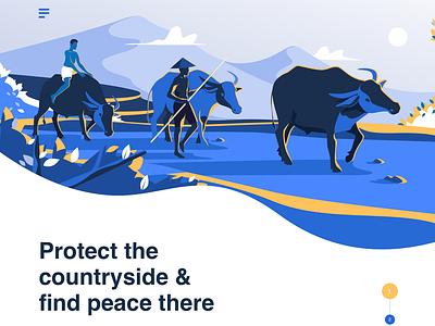 Social community's landing page peace save culture animal village branding app ui landingpage landing header design illustration
