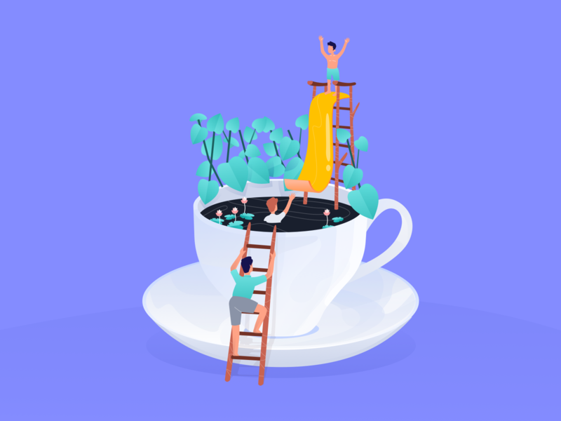 A Cup of Coffee & Childhood Memory vector relax coffee memory childhood design illustration