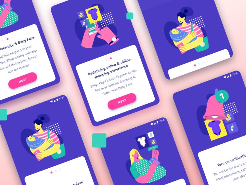 Baby stuff app payment notification onboarding ecommerce mom vector app ui design illustration