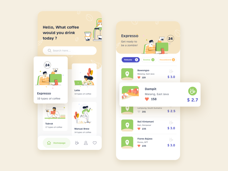 Icoffee, An App for Coffee Lovers and Baristas barista coffee vector texture branding app ui header design illustration