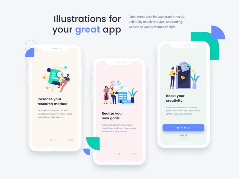 Jumeneng Illustrations on On-boarding app creativity boost search flat illustration flatdesign flat screen onboarding finance teamwork app ui design illustration