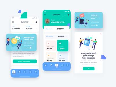 Financial App with jumeneng illustrations