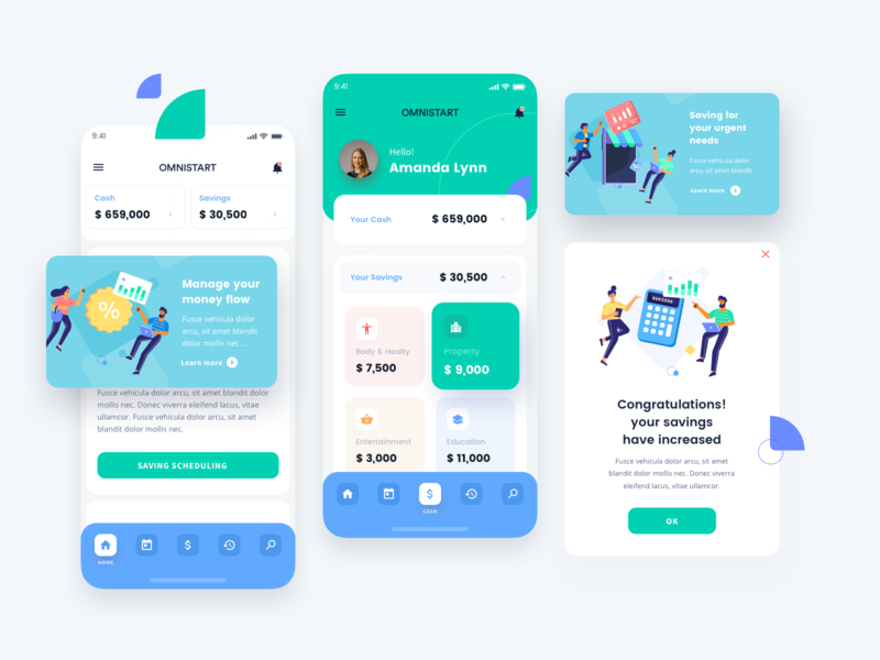 Financial App with jumeneng illustrations exploration finance app save money financial icon ui ux branding emptystate popup app design illustration