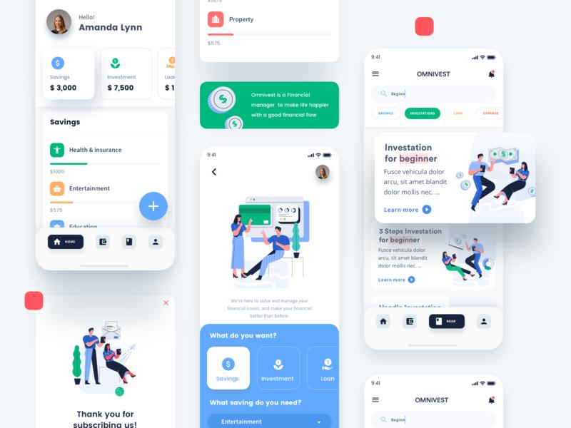 Investment app using Babol Illustrations loan saving icon finance investment business graphicdunk exploration financial app ui design illustration