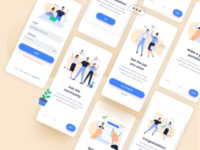 App using Job seeking illustration