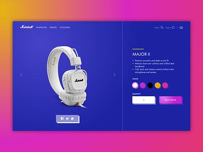 Marshall exploration futura clean gradient headphones music concept website product ecommerce ui