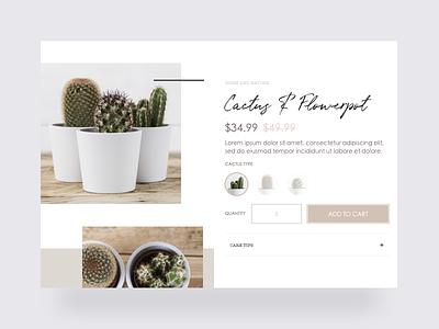 Bohemian store - Cactus product page clean ecommerce shopify webdesign plants cactus ux ui product minimal bohemian